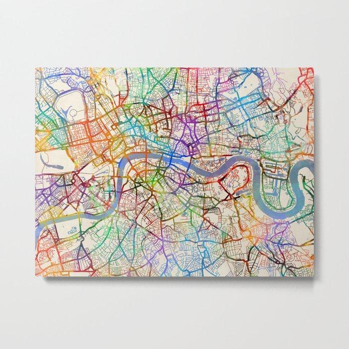London England City Street Map Metal Print