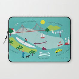 San Francisco, California - Collage Illustration by Loose Petals Laptop Sleeve