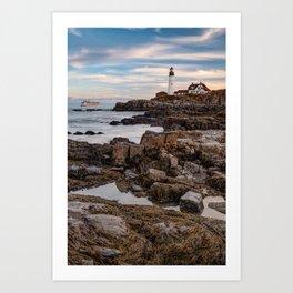 Portland Head Light and Cruise Ship - Cape Elizabeth Maine Art Print