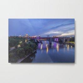 Illuminated Minneapolis and Mississippi River Birdges during a Summer Twilight Metal Print