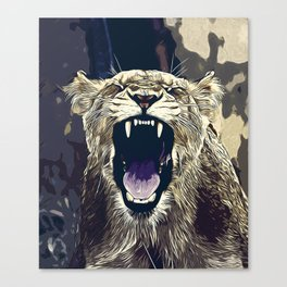 african lioness safari cat v2 vector art foggy night Canvas Print