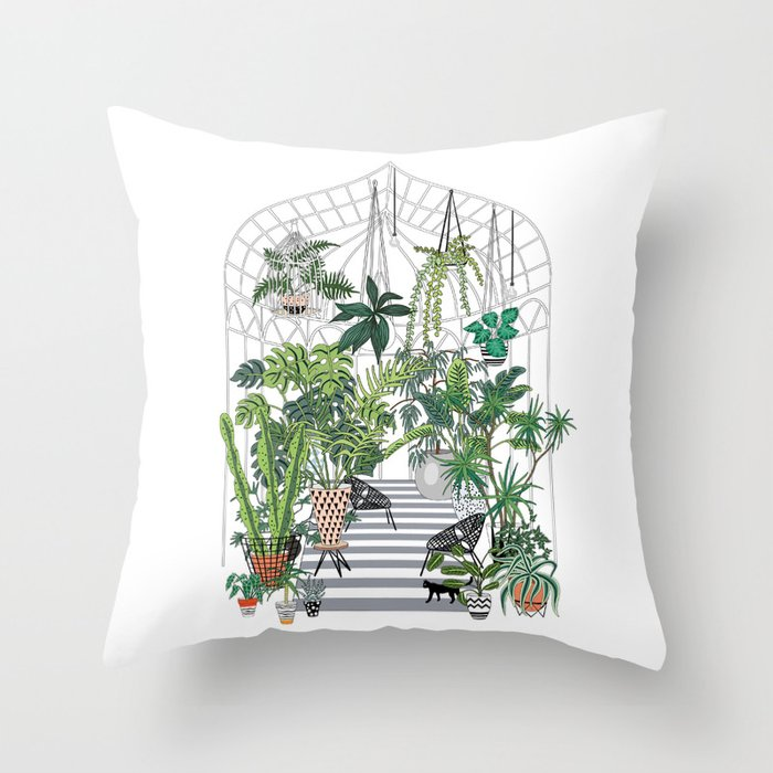 greenhouse illustration Throw Pillow