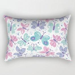 pink, teal and blue butterflies Rectangular Pillow