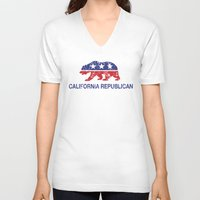 political V-neck T-shirts featuring California Political Republican Bear Distressed by Republican