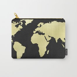 Gold Rush World Map on Black Carry-All Pouch