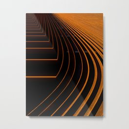 Unique Curved Wood Pattern Geometric Shape In A Vintage Mid-century Modern Style Metal Print
