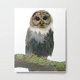 Owl Double Exposure Metal Print