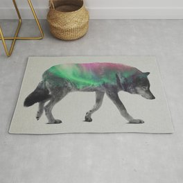 Wolf In The Aurora Borealis Rug