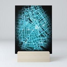 San Jose, CA, USA, Blue, White, Neon, Glow, City, Map Mini Art Print
