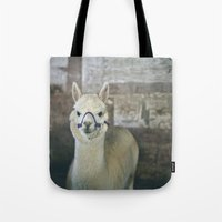 alpaca Tote Bags featuring White Alpaca  by Laura Ruth