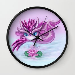 Cristall dragon baby with lotus Wall Clock