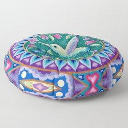 Hummingbird Mandala Floor Pillow