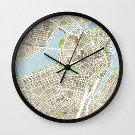 Boston Sepia Watercolor Map Wall Clock