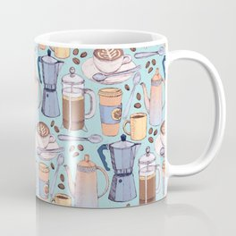 Coffee Love on Blue Coffee Mug