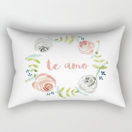 'I Love You' in Spanish - Floral Wreath Rectangular Pillow
