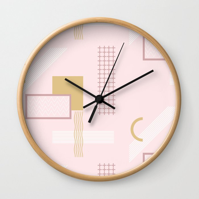 Light Pink Retro Abstract Wall Clock