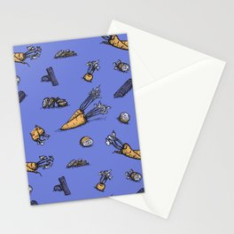 Trendy ultraviolet pattern with cattor and celery Stationery Cards