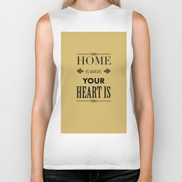 Home is Where - Typography brown Biker Tank