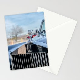 Vintage Car // Rolls Blue Paint Hood Ornament Silver Grille Classic Stationery Cards