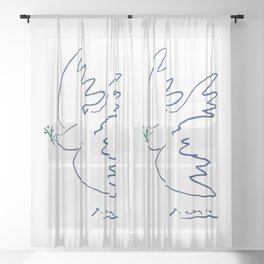 Pablo Picasso Dove Of Peace In Blue 1949 Artwork Reproduction Sheer Curtain