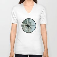 compass V-neck T-shirts featuring Compass by madbiffymorghulis