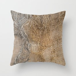 textured jute fabric for background and texture Throw Pillow