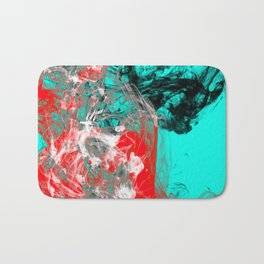 Marbled Collision - Abstract, red, blue, black and white mixed paint artwork Bath Mat