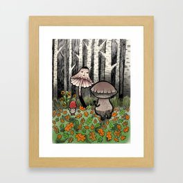 Mushroom Meeting Framed Art Print