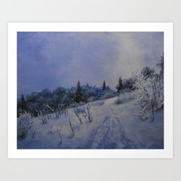 winter first comes in the mountain  Art Print