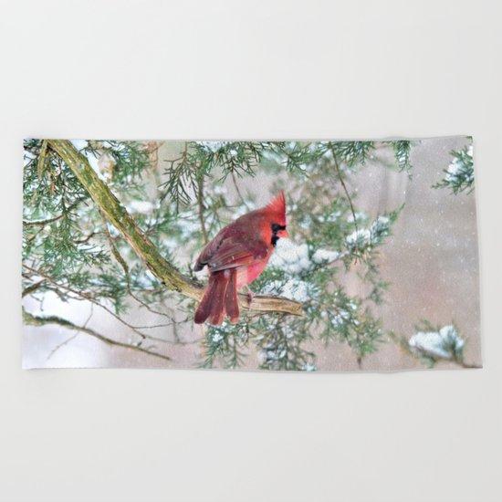 Snow Day Cardinal Beach Towel