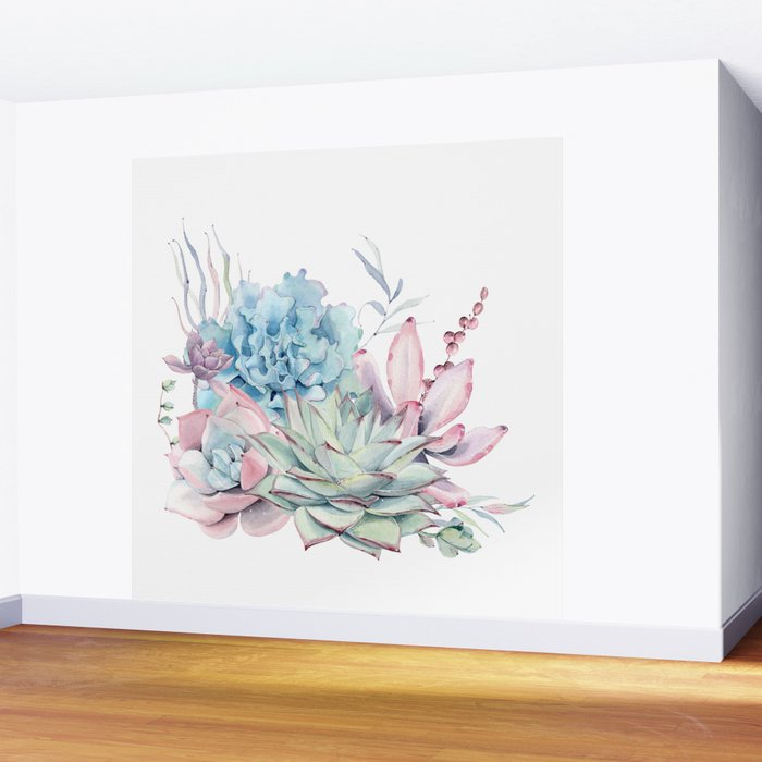 Pretty Pastel Succulents Wall Mural