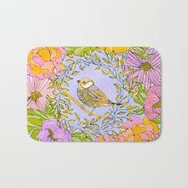 Spring Chickadee in Flowery Woodland Wreath Bath Mat