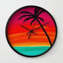 Sunset Palm 2 Wall Clock