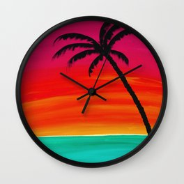 Sunset Palm 2 Wall Clock