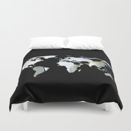 World Map Silhouette - Penguins Duvet Cover