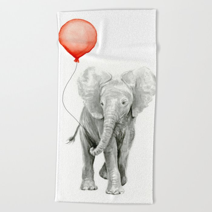 Baby Elephant Watercolor Red Balloon Nursery Decor Beach Towel