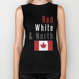 Red White & North Canada CAD Canadian Flag Love Biker Tank