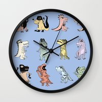 dinosaurs Wall Clocks featuring Dinosaurs by BlandinePannequin