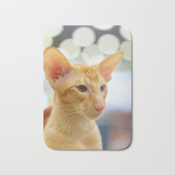 Young red oriental cat Bath Mat