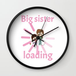 Big sister invites loading birth child pregnancy baby Wall Clock