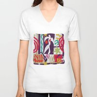 matisse V-neck T-shirts featuring inspired to Matisse t-shirt (violet) by Chicca Besso