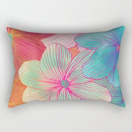 Between the Lines - tropical flowers in pink, orange, blue & mint Rectangular Pillow