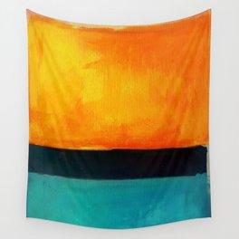 Mark Rothko Interpretation Orange Blue Wall Tapestry