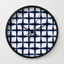 Shibori Squares Wall Clock