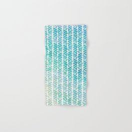 Handpainted Herringbone Chevron pattern - small - teal watercolor on white Hand & Bath Towel