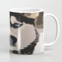 duvet cover Mugs featuring DOG DUVET COVER by aztosaha