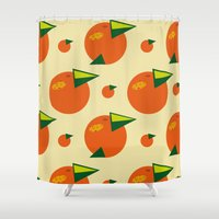 orange pattern Shower Curtains featuring orange pattern by Avrora-slip