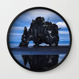 rock, sea, coast, basalt stack, hvitserkur, iceland Wall Clock