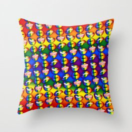 LGBTQ Rainbow Lips Throw Pillow