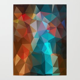 Abstract bright background of triangles polygon print illustration Poster